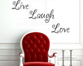 """Live Laugh Love Vinyl Wall Decal Words, Removable Vinyl Lettering Decoration, Live 4"""" X 7.75"""" Love 4 X 7.75"""" Laugh 4 X 12.5"""""""