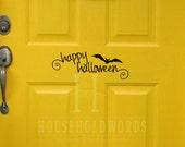 Happy Halloween Bat Vinyl Decal, Removable Decals, Front Door Decor, Bat decals, Wall Decal Decorations
