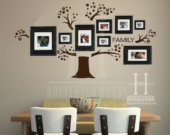 Family Tree Wall Decal, Memory Tree, Photo Tree Gallery Wall Art, Office and Home Decor Vinyl Wall Tree Decals,  Family Picture Tree