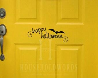Happy Halloween Decal, Bat Stickers, Halloween Decal, holidays decal, Front Door Decal, Front Porch Decor, Halloween sign vinyl lettering