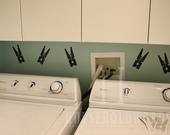 Clothespin Vinyl Wall Decals, Laundry Vinyl Decal, Laundry Decor, Set of 10, Removable Vinyl stickers, Modern laundry decor, Modern  decals