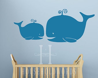 Fish Wall Decals, Whale Wall Stickers, Nautical Nursery Decor, Bathroom Vinyl Decal, Beach House Decorations, Doctors Office Wall Decor