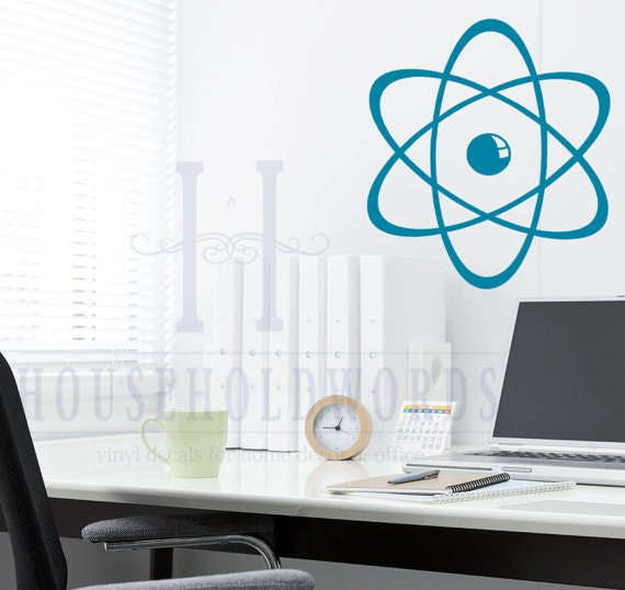 Atom Wall Decal, Science Vinyl Decal, Classroom Decor, lab Rat Gift, dorm Decor, Atomic decor,  Teachers gift, geekery