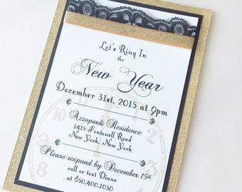 Gold Glitter New Years Eve Invitation, New Year Invitation, New Years Party Invitation, Customizable