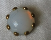 VINTAGE Opalescent Glass in Metal BUTTON