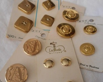 Lot Sets of VINTAGE Carded Gold Metal Craft Sewing Buttons L115