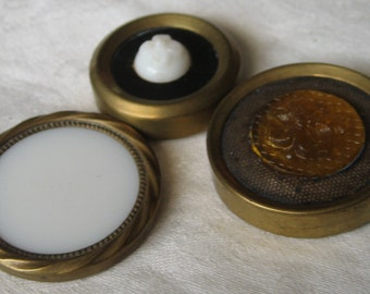 Lot of 3 ANTIQUE Glass Center Metal Drum Pad Back BUTTONS