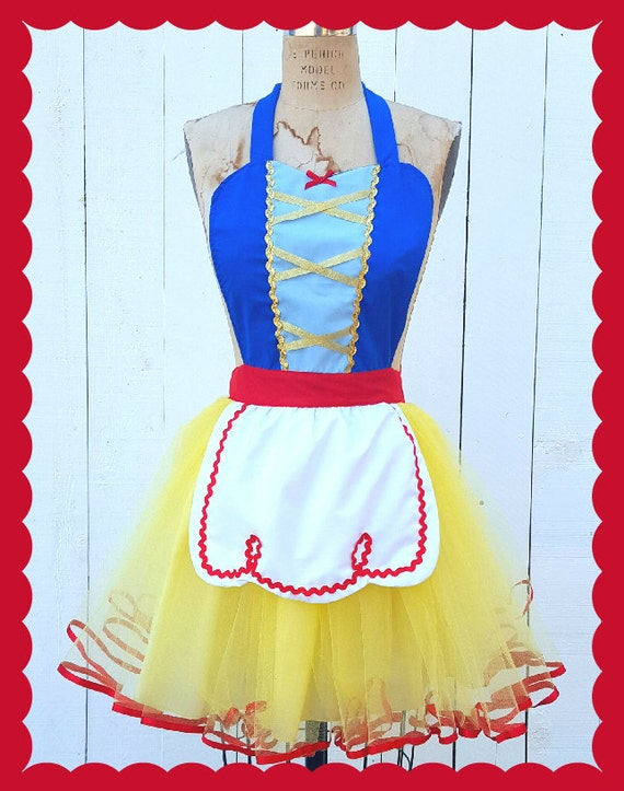 SNOW WHITE costume aprons, Snow White dress up costume aprons, Snow White apron, womens full costume aprons, cosplay, pin up apron, tutu