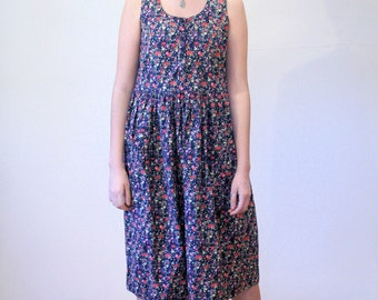 Rainee's Garden, 80s Dress. Grunge Dress, Floral Sundress, Komil India Cotton Dress, Navy Blue Pink Flowers Boho Apron Dress size S M