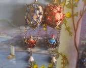 RESERVED - Lilygrace Sand Vintage Hot Air Balloon Earrings with Brass Filigree, Embroidered Silk, Glass Flowers and Vintage  Beads