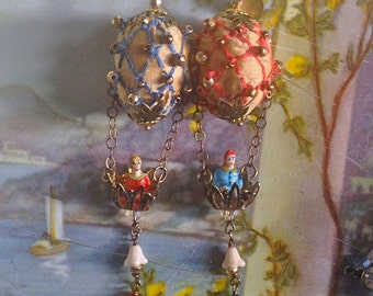 Lilygrace Sand Vintage Hot Air Balloon Earrings with Brass Filigree, Embroidered Silk, Glass Flowers and Vintage  Beads