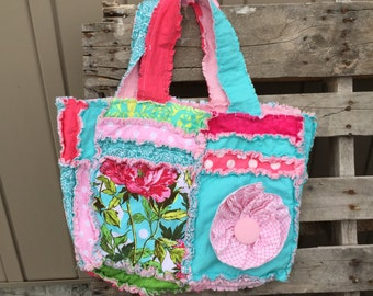 Baby Diaper Bag - Pink Diaper Bag - Turquoise Diaper Bag - Floral Diaper Bag - Unique Baby Gifts - Baby Gift Ideas - Rag Quilt Purse