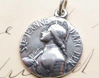 Sterling Silver Joan of Arc Medal - Patron of strong women and soldiers - Antique Reproduction