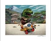 Kaiju Pedal Car 8 x 10 Signed Print