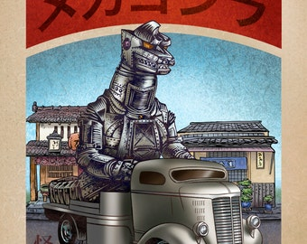 MechaGodzilla Monster Truck 8 x 10  signed print- Japanese Kaiju Monster in Truck