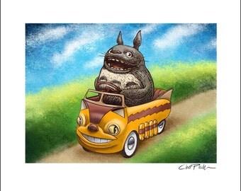 Totoro Pedal Car 8 x 10 Signed Print