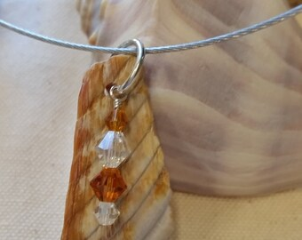 Beautiful Shell Necklace with shell gathered from the North Beach of Tybee Island, GA accented with Lt Topaz Swarovski Crystals and sterling