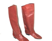 70s tall leather boots 1970s vintage pointy toe red brown leather knee high boho riding boots size 7
