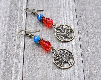 Tree Of Life Earrings, Tree Of Life Bronze Charm Earrings Nature Jewelry, Circle Eternity Red Crystal Blue Dragon Vein Agate Gemstone Beads