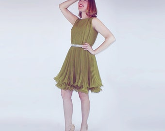60s Bright Olive Green Pleated & Ruffled Party Dress by Miss Elliette S