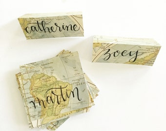 Vintage Map Placecards | Modern Calligraphy