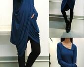 My Zen Extravegant Tunic dress + Thumbhole top /Asymmetric Long Sleeves Tunic Top Asymmetric Sleeveless Tunic Top/Cotton Maxi Blouse (Q1711)