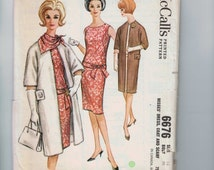1960s Vintage Sewing Pattern McCalls 6676 Misses Slim Drop Waist Dress with Sash Detail and Long Duster Coat Size 12 Bust 32 60s 1962 UNCUT