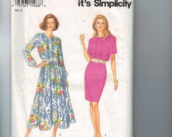 1990s Vintage Sewing Pattern Simplicity 8842 Misses and Petite Easy Dress Front Pleats Size 8 10 12 14 16 18 Bust 34 36 38 40 42 4 UNCUT  99