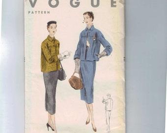 1950s Vintage Sewing Pattern Vogue 7902 Misses Jacket Boxy Slim Skirt Suit Size 12 Bust 30 UNCUT 50s  1953  99