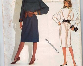 1980s Vintage Sewing Pattern Vogue 1086 Misses Raglan Sleeve Dress Blouson Loose Fitting Paris Original Chloe Size 10 Bust 32 33 80s UNCUT