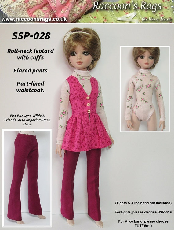 "STRAIGHTFORWARD SEWING Pattern SSP-028: ""Polo"" Leotard, flared pants, frock-waistcoat for Ellowyne Wilde & friends."