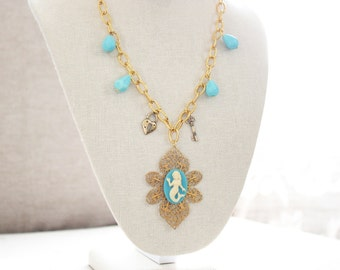 Mermaid Vintage Style Filagree Gold and Teal Statement Necklace
