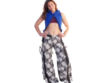 Island Style Wrap Pants - Side ties, Slit Leg, Black and White, Beach Pants