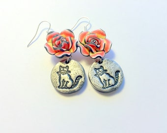 Sitting Pretty Kitty Cat and  Red Black Yellow Roses Handmade Polymer Clay Earrings