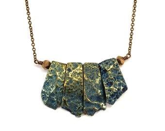 Peacock blue metallic rock crystal statement necklace