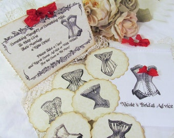 Bride Advice Game Vintage Corset Deluxe Cards Set w/Customized Bag and Sign - Set of 20 - Bridal Shower Game Lingerie Party Bachelorette