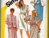 80s Vintage Skirt Blouse Sewing Pattern Lined Jacket Plus Size Pin Tucks Puff Sleeve Princess Seams Gathered Skirt Simplicity 5854 Bust 44