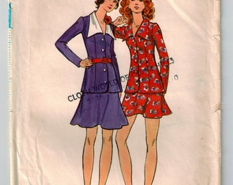 Vintage 70's Two Piece Dress Top/Skirt Sewing Pattern Princess Seams Flip Skirt Micro Mini or Above Knee Long Fitted Top Size 8 Bust 31.5