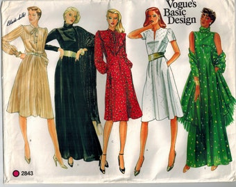 Vintage 80s Vogue 2843 Misses Dress and Shawl Plus Sizes 18 20 Bust 40 42 Fitted Flared Dress Evening Length Gown Neckline Sleeve Variations