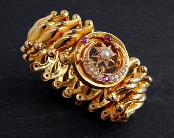 14k Pearl and Ruby Bracelet: WWII Sweetheart expansion bracelet, expandible, stretch bracelet, solid gold, 1940s jewelry, vintage bracelet