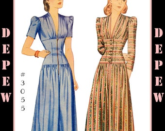 Vintage Sewing Pattern Reproduction 1940's Dinner or Lounge Pajama #3055 - INSTANT DOWNLOAD