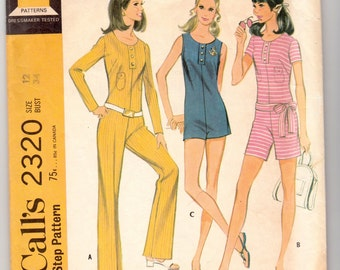 "Vintage Sewing Pattern Ladies' Jumpsuit Romper McCall's 2320 34"" Bust - Free Pattern Grading E-book Included"