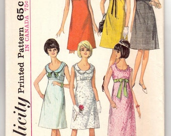 "Vintage Sewing Pattern Teen Long and Short Dress 1960's Simplicity 5966 34"" Bust - Free Pattern Grading E-book Included"