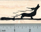 Dachshund Witch Rubber Stamp, Howling Halloween J30807 Wood Mounted