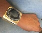 Black Quartz Cuff Bracelt, Gold Plated Gemstone Cuff