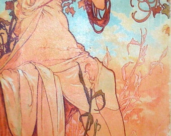 "Mucha Seasons Summer Art Painting Print Ready to Hang on Canvas Art Deco Nouveau 10"" x 20"""