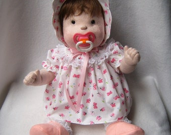 Doll, cloth doll, soft sculpture doll, baby doll, rag doll, soft doll, soft baby doll, collector doll, doll with 2 outfits, cloth baby doll