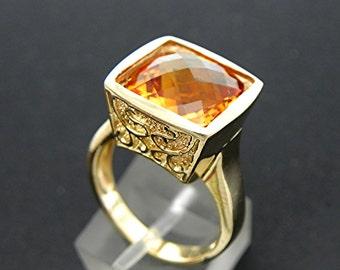 AAA Golden Orange Citrine   12x12mm  6.35 Carats   14K yellow gold filigree style ring