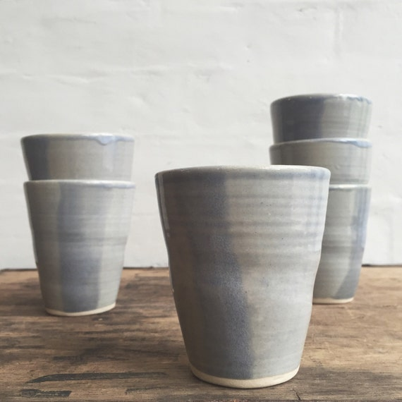 Wheel-thrown Tumblers in Pale Blue