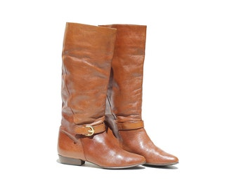 Nutmeg Brown Leather Tall Boots / Ankle Strap Boots / size 6.5
